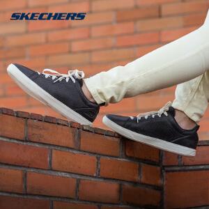 Skechers/斯凯奇时尚透气女皮质绑带小黑鞋缓震健步板鞋 14566
