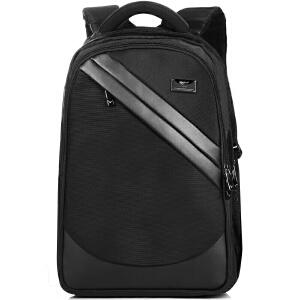 【1件5折】七匹狼 电脑包男士双肩包15.6英寸笔记本大容量休闲旅行背包 黑色