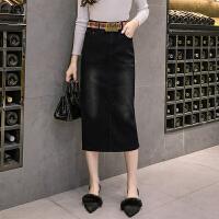 a字裙半身裙中长款2018新款后开叉黑色显瘦弹力牛仔包臀裙一步裙
