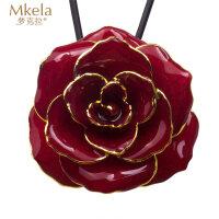 梦克拉 鲜花玫瑰烤漆吊坠 玫瑰花吊坠红色玫瑰花项链女饰品