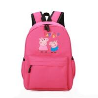 小猪佩奇双背儿童背包旅行双肩包女孩可爱萌小学生中大童学生书包 玫红色