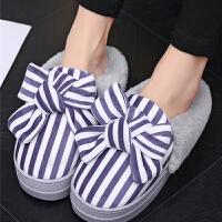 高跟棉拖鞋防滑女冬季蝴蝶结坡跟保暖包跟棉鞋厚底家居家毛毛拖鞋