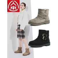 人本冬季加绒保暖短筒雪地靴女加厚高帮平跟马丁短靴韩版百搭棉靴