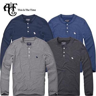 Abercrombie & Fitch长袖A&F亨利式上衣94X时尚领口帅气男生