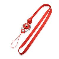 多功能手机挂绳挂脖绳女款可拆卸防丢防盗钥匙绳子长链男金属通用 红色 长款50cm