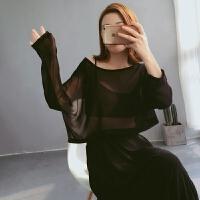 衣服女夏性感透视上衣短款雪纺衫宽松长袖圆领露脐套头罩衫防晒衣 黑色 均码