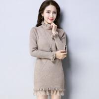 天天春季韩版修身毛衣裙中长款蕾丝边打底衫女士长袖百搭加厚