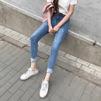 新款韩版水洗高腰弹力紧身小脚九分牛仔裤女学生