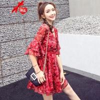 红色小个子短款裙子女夏2019新款碎花雪纺连衣裙海边度假沙滩裙仙 红色 CQZ181846