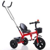 儿童三轮车脚踏车1-3-6岁童车自行车男女宝宝婴儿手推车轻便 红发泡轮2合一 不带刹车护栏蓬