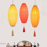 新中式海洋布艺红灯笼吊灯 古典餐厅吧台卧室过道走廊楼梯灯具
