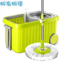 旋转拖把 手压式自甩水拖把桶双驱动不锈钢吸水懒人木地板墩布拖把杆头 绿色