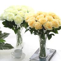 仿真玫瑰花束单支假花塑料花绢花家居卧室装饰花室内插花摆件干花