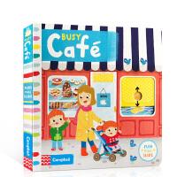 英文原版 Busy Cafe 繁忙的咖啡馆 儿童启蒙机关操作纸板书 0-3-6岁幼儿认知趣味玩具书 儿童英语启蒙 纸板