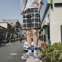 潮男五分裤韩国复古黑白格子短裤男女休闲宽松沙滩裤