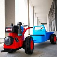 儿童拖拉机玩具车可坐人手扶式带斗网红玩具抖音电动大号小孩童车 手扶式双电双驱12V电瓶