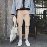 新款2018秋冬 韩版破洞修身牛仔裤男 黑色时尚潮流男装牛仔裤