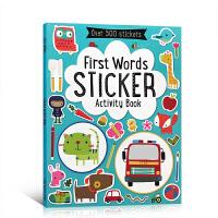 英文原版 First Words Sticker Book 儿童启蒙认知书 宝宝单词学习带情景趣味贴纸游戏书 3-6岁