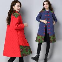 冬装大码民族风女装复古中长款印花棉衣日常改良加厚外套