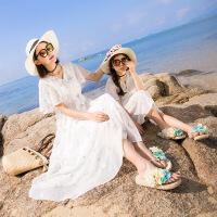 2019 母女装夏款波西米亚白色刺绣连衣裙海边沙滩裙亲子碎花长裙 白色