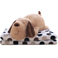 狗狗午睡枕头汽车抱枕被子两用珊瑚绒腰靠枕靠垫空调被毯子三合一
