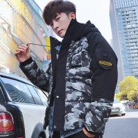男士外套冬季2018新款韩版潮流迷彩棉衣服冬装帅气羽绒服加厚棉袄