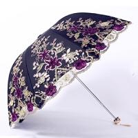 新款公主太阳伞蕾丝花边刺绣防晒防紫外线女黑胶二折遮阳伞晴雨伞