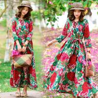 春夏季新款民族风女装旅游度假裙沙滩裙长裙配腰带少女连衣裙