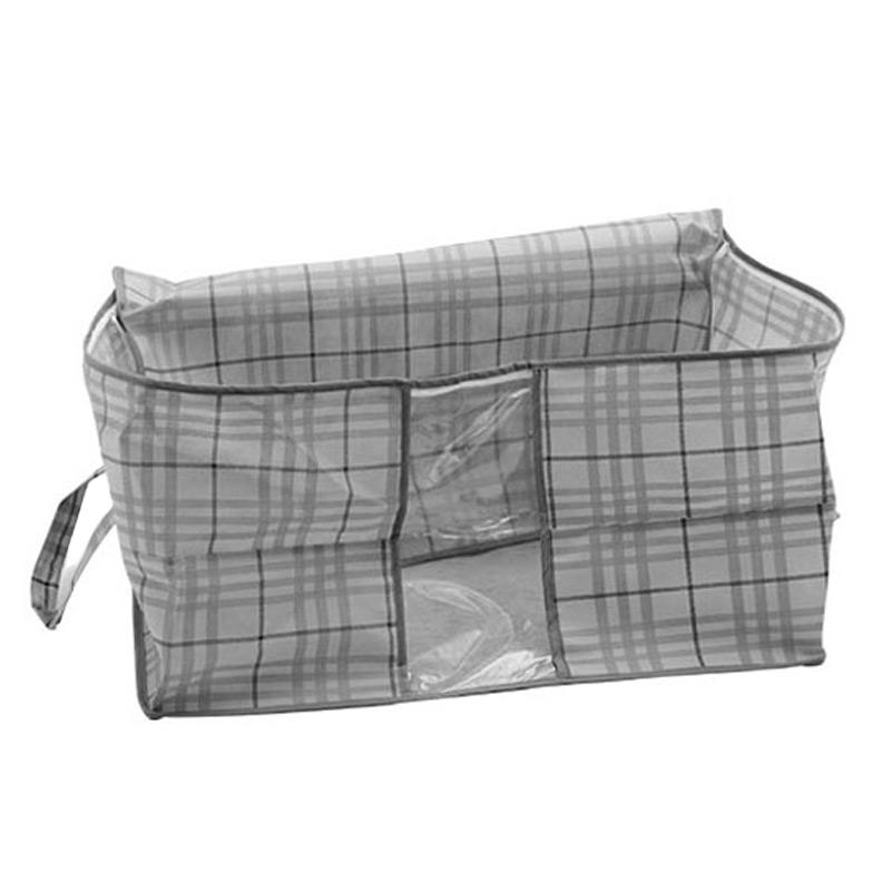 维康(wecan)竹炭系列wksn034无纺布灰格杂物袋/衣物整理箱50*45*30CM