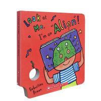 英文原版绘本 Look At Me Mask I'm an Alien! 育儿纸板书儿童面具书 趣味童书吴敏兰推荐书单