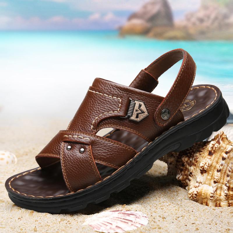 宜驰 EGCHI 凉鞋男士皮凉鞋男式套脚户外沙滩鞋男 10498