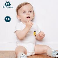 迷你巴拉巴拉男女童宝宝三角衣夏新婴幼儿舒适装两件套包屁衣