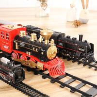 仿真轨道古典模型玩具高铁小火车复古蒸汽火车玩具男孩