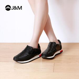 【低价秒杀】jm快乐玛丽春秋低跟松糕亮片增高套脚女鞋休闲鞋平底鞋子73031W