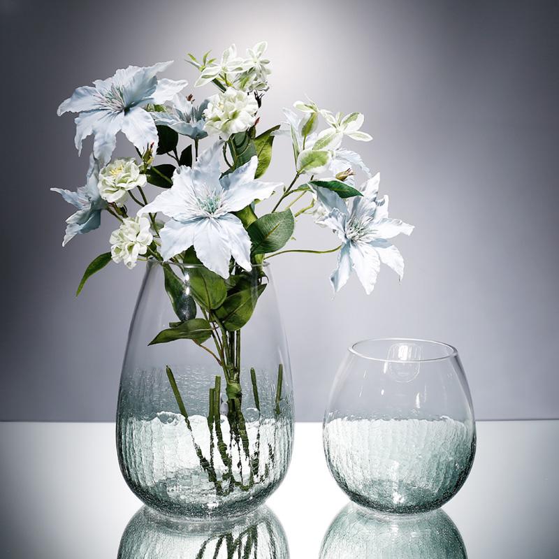 装饰摆件花瓶玻璃透明现代清新插花瓶干花瓶家居客厅干花花瓶