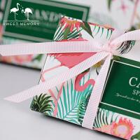 三角形火烈鸟结婚喜糖盒2018新款欧式婚礼糖果礼盒婚庆用品纸盒子 长三角形