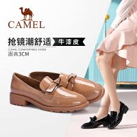 骆驼女鞋2019秋季新款真皮中跟小皮鞋休闲时尚鞋女潮鞋粗跟单鞋女