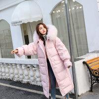 粉色羽绒服女中长款冬大毛领过膝加厚外套大码孕妇 粉色