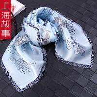 上海故事2018新款空姐真丝丝巾小方巾女多功能百搭装饰桑蚕丝丝巾