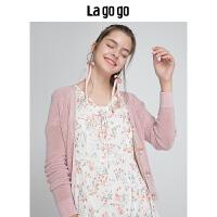【5折价169.5】Lagogo/拉谷谷2018年秋季新款时尚单排扣长袖针织衫HCMM838A30