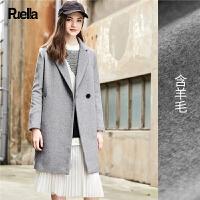 西装呢子大衣女装春装新款韩版宽松H型中长款英伦风毛呢外套