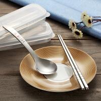 韩式创意304不锈钢筷子勺子套装便携餐具三件套学生可爱