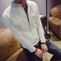 新款2018男夹克外套薄款立领双兜小外套修身学生白色夹克衫潮男装