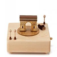 木质八音盒 实木音乐盒 创意礼品 复古凯旋门七夕节 送男友 女友 创意礼物生日礼品