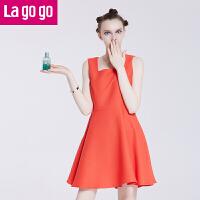 【满200减100】Lagogo夏季新款红色修身百褶吊带裙无袖高腰中长款A字裙 女连衣裙FBB955G328