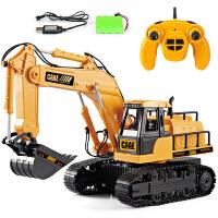 儿童无线遥控挖掘机玩具充电合金大号电动挖土机男孩工程车模型