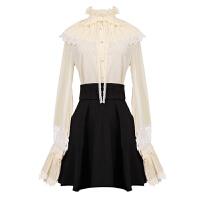 套装女春装时尚潮2018新款气质高腰长袖衬衣加裙子公主裙两件套裙 米白色