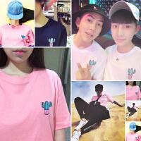 新款韩国夏日风糖果色BF风仙人掌粉红色印花Tee粉男女情侣短袖T恤