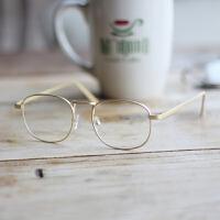 复古金属细框眼镜架 金丝金色方框平光镜女 男小脸成品近视眼镜框