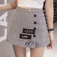 格子半身裙a型2018新款修身拼接阔腿包臀裙裤刺绣字母一步裙短裙